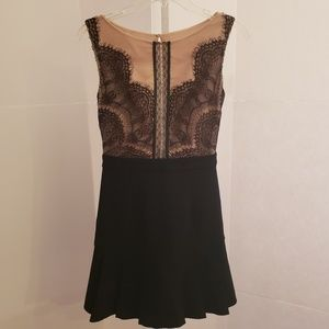 Three Floor black lace and sheer nude dress sz 4